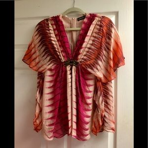 Antik batik silk ruffle top XS